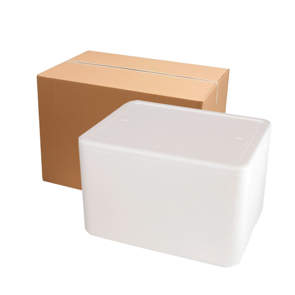 Kit imballaggio completo di scatola isolante in polistirolo e cartone per spedizione.